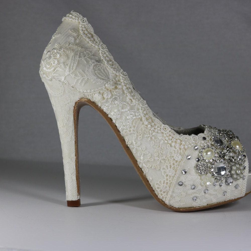 Vintage Lace Wedding Shoes Bridal High Heels Lacy Bridal