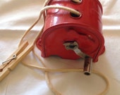 Vintage Clothesline retractable metal clothesline reel Red Made in the USA Handy Thing 1940s Clothes line