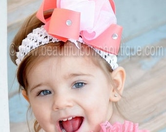 White and Coral Baby Headband,Coral Hair Bow and Headband,Baby Girl Headbands,Baby Hair Bow Headbands,Boutique Hair Bows,Big Bows for Babies