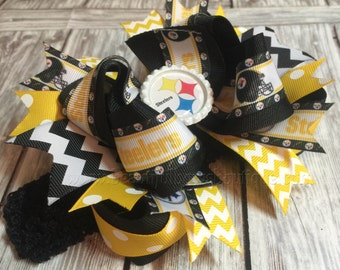 Pittsburgh Steelers Baby Headband,Steelers Hair Bow,Steelers Hair Bows,Baby Headbands,Newborn Headband,Infant Headband,Black and Yellow Bows