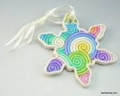 Rainbow Snowflake Christmas Ornament in Pastel Fimo Filigree