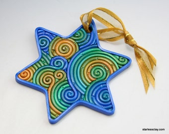Star of David Ornament in Blue, Green, Gold Polymer Clay Filigree