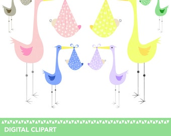 Cute Stork and Baby Bundle Clipart - High Resolution - 300dpi - JPEG and PNG - instant download - mix and match - great for invitations etc