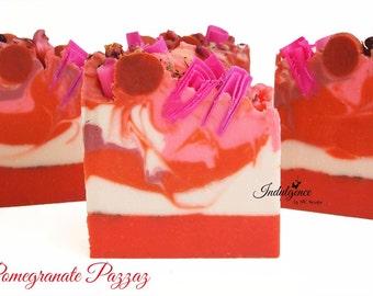 Soap-Pomegranate Pazzaz Artisan Vegan Soap/Handmade/Cold Process Soap/Valentine Soap