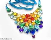 Bright Rainbow Rhinestone Jeweled Statement Necklace, Colorful Rhinestone Bib Necklace, Pride Jewelry