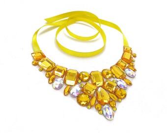 On Sale Yellow Rhinestone Bib Necklace, Yellow Rhinestone Statement, Discount Rhinestone Bib Necklace, Formal Yellow Necklace, Sale Price