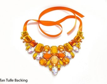 ON SALE Orange Rhinestone Bib Necklace, Discount Orange Rhinestone Statement, Orange and Yellow Bib Necklace, Sale Statement Necklace