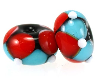 Lampwork Beads, Handmade Glass Beads, Turquoise and Red Pair, SRA Beads, Donna Trull, Artisan Beads, Floral Beads, Glass Flowers