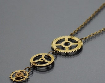 Steampunk Jewelry- Upcycled Brass Clock Gear Necklace, Steampunk Necklace, Steampunk Pendant, Brass Gear Jewelry by Tanith Rohe