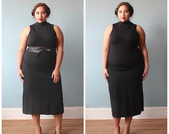plus size dress / black plus size body con dress / 1990s / XL - XXL