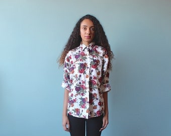 floral print blouse / white floral button up / 1990s / xs - small