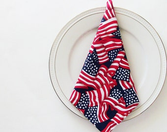 USA Stars & Stripes Cotton Napkins / Set of 4 / Patriotic Theme Red White Blue Waving Flags Eco-Friendly Table Decor / Gift Under 50