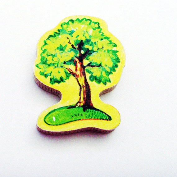 1960s Green Tree Brooch - Pin / Yellow, Green Leaves, Brown Tree Trunk / Upcycled Hand Cut Wood Puzzle Piece / Wood Brooch / Gift Under 25