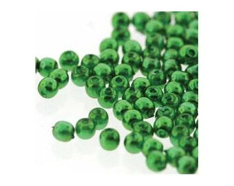 Czech Glass Pearl Beads 2mm Christmas Green 18154 (600), Tiny Round Beads, 2mm Pearls, Czech Glass Beads, Wedding Pearl Bead, Preciosa Beads