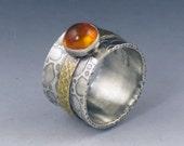 Amber Mixed Metal Ring, sterling silver, brass, amber ring, boho, bohemian, size 8 ring, yellow amber ring, silver gold yellow, yellow stone