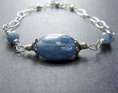 Kyanite Bracelet, Blue Kyanite Bracelet, Wire Wrapped Bracelet, Blue Bracelet