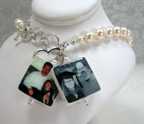 Brides Anklet with 2 Dangling Photo Charms - P3x2B7
