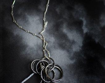 Edgy Silver Necklace, Black Pendant, Fringe Necklace, Mens Unisex Jewelry