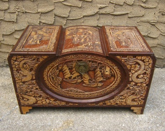Large Camphor Trunk 1920's Chinese Chest with Dragons and Figural Scene Antique Carved Wooden Wood Back Thennish Vintage