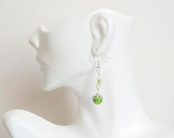 Handmade Lime Green Yellow Beads Silver Toned Dangle Drop Earrings Fun Hypoallergenic Halloween