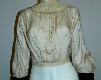 antique Victorian / Edwardian silk dot blouse / high neck lace / pin tuck front