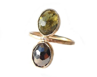 Green Garnet and Pyrite CLEO Ring, Faceted Multi-stone Ring, Recycled Gold Stacking Ring, Made to Order