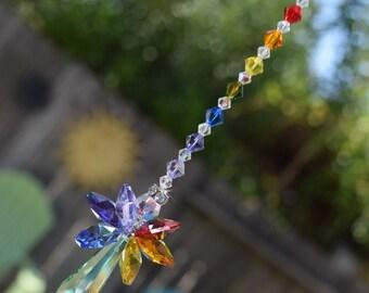 "8"" 12"" Birthday Gift Peridot Green August Angel Swarovski Crystal Full Double Rainbow Suncatcher Car, Home, Sunroom Charm, Window Crystal"