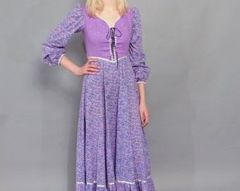 Vintage Purple Maxi Dress // 1970's Calico Peasant Dress // Corset-Tie Bodice