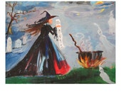 Original Painting The Witches MAGIC POTION  Art by Rodriguez
