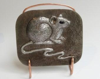 Little Gray Mouse Metal Repousse Tabletop Decor