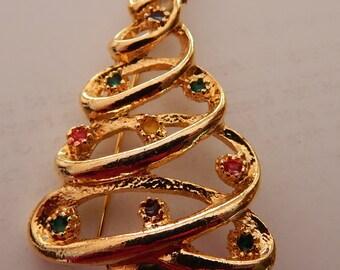 Happy Holiday Gold Tone Christmas Tree Pin