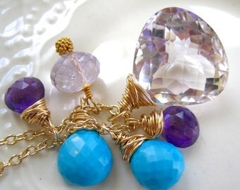 Pink Amethyst and Turquoise Gemstone Charm Necklace