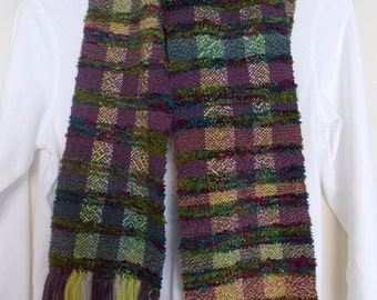 "Handwoven Scarf in purples and chartreuse~Amazingly soft and lovely 72""x6.5"""