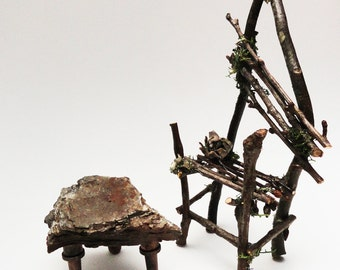 Adorable Rustic Mini Table, Primitive Twig Furniture, Fairy Table, Fae Coffetable, Faery Bedside Stand, Brown