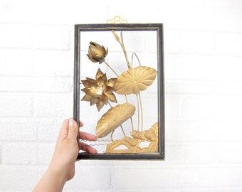 Vintage Metal Flowers - Floral Wall Hanging - Mid-Century Floral Silhouette - Framed Flower Design - Gold Flowers in Frame - Mod Home Decor