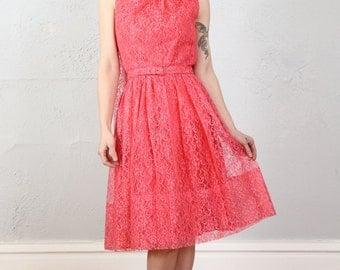 Fuschia Chantilly Lace Dress . 1960s