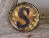 Antique Horse Bridle Button Monogram Letter S Metallic Sunburst Design Gold Glass Copper Back