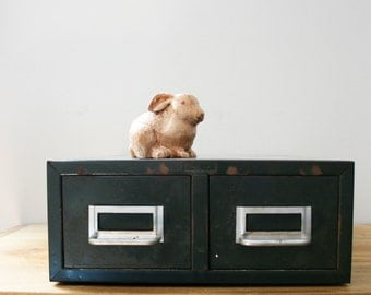 vintage 1950s Old Worn 2 Drawer Library Card Catalog Cabinet // Retro Industrial Storage