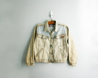 vintage 80s Acid Wash Jordache Lace & Denim Jacket M L