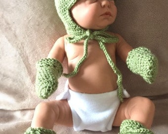 Crochet newborn everyday  set Keep me warm hat, mittens and booties made to order