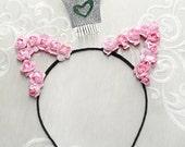 valentines day headband, pink cat ears headband, silver crown headband, birthday headband adult, pink rose headband, pink rose headband
