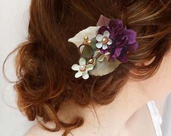 purple hair flower, purple wedding hair accessories, fall wedding bridal hair accessory, rustic wedding, purple bridesmaid hair clip
