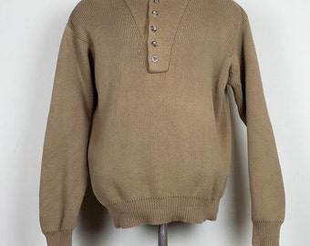 Vintage LL Bean Brown Ribbed Knit Sweater Mens L