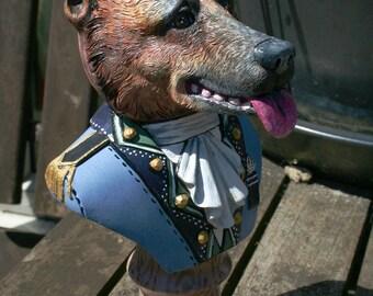 Hand Painted German Shepherd Bust Statue
