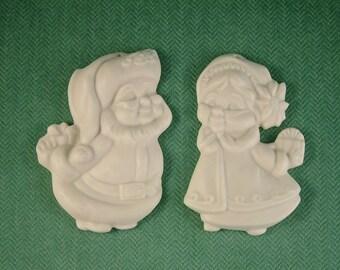 Mr. and Mrs. Santa Bisque Ornament