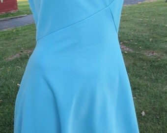Vintage Leslie Fay Original dress, lovely blue polyester, size small see measurements
