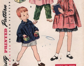 1950s Simplicity 4485 Vintage Sewing Pattern Girls and Boys Smock, Art Smock, Short Smock, Long Smock Size 7