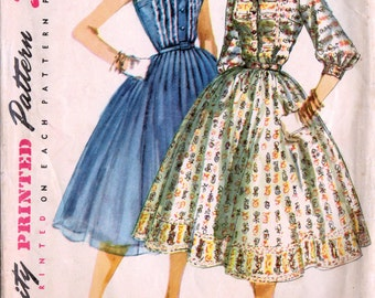 1950s Simplicity 1536 Vintage Sewing Pattern Misses Party Dress, Afternoon Shirtwaist Dress Size 14 Bust 32