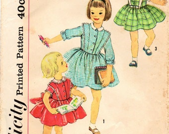 1950s Simplicity 3132 Vintage Sewing Pattern Girl's Dress Size 4, Size 5