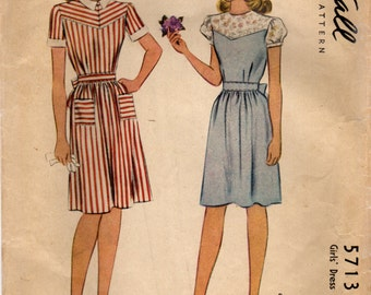 1940s McCall 5713 Vintage Sewing Pattern Girl's Party Dress, Dirndl Skirt Dress Size 8